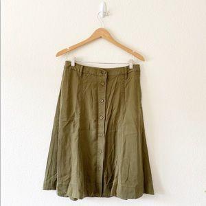 Talbots green button midi skirt size 8